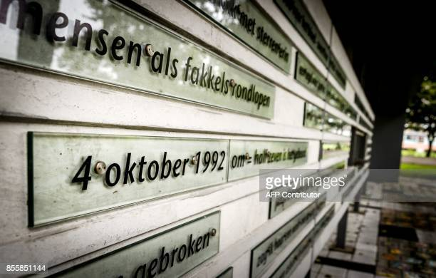 A photo shows the memorial to the crash of the Boeing 747 of the Israeli airline El Al on October 4 1992 in the Bijlmermeer in Amsterdam on September...