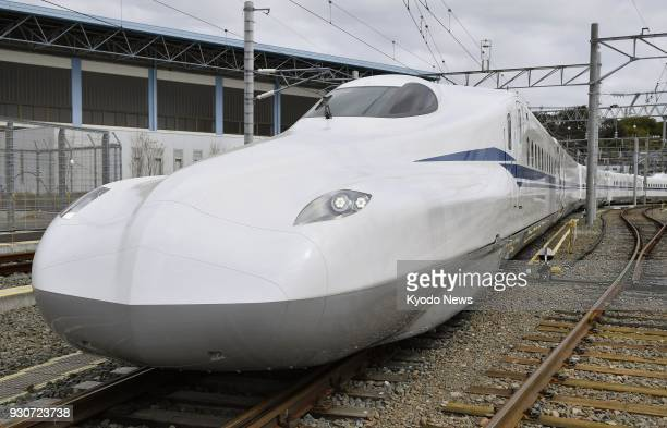 Photo shows the N700S series shinkansen bullet train unveiled by Central Japan Railway Co in Hamamatsu central Japan on March 10 2018 ==Kyodo