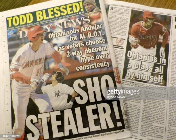 Photo shows the Nov 13 edition of Daily News published in New York reporting that Shohei Ohtani of the Los Angeles Angels has been named American...