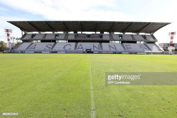 A photo shows the pitch and tribunes of the Pierre de Coubertin Stadium in Cannes on September 19 2017 / AFP PHOTO / VALERY HACHE