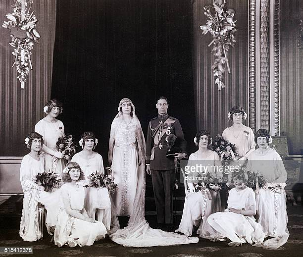 5/3/1923 Photo shows the Royal Wedding group with the Duke of York and his bride in the center At the left are Lady Mary Cambridge Lady Mary Thynne...