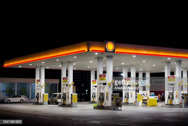 Photo shows the signboard and logo of Shell gas station in Ankara, Turkey on October 05, 2018.