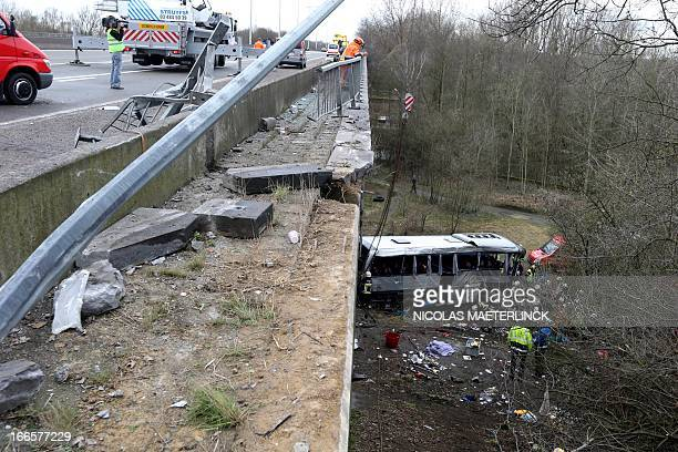 Photo shows the site of a bus crash on the E34 highway near Ranst Antwerp province on April 14 2013 At least four people died and several were...