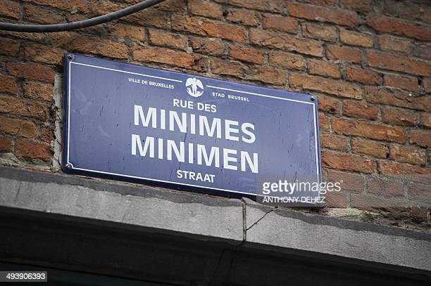 Photo shows the street sign of the Rue des Minimes / Minimen straat the location of the Jewish museum in Brussels on May 26 2014 Last Saturday three...