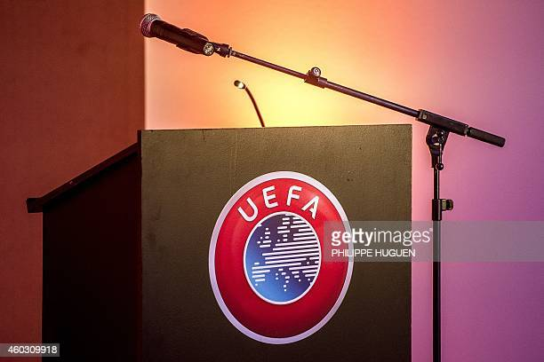 Photo shows the UEFA logo on a podium on December 11 in CominesWarneton during the inauguration of a monument to commemorate WWI soldiers of opposite...