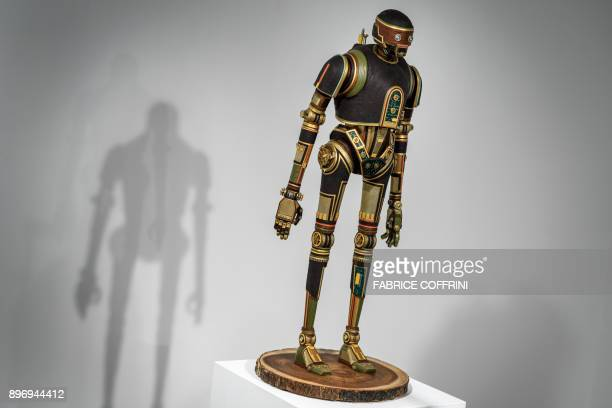 A photo shows the work 'Upcycled K2S0' by US artist Gabriel Dishaw at science fiction museum The Maison d'Ailleurs during the exhibition entitled 'I...