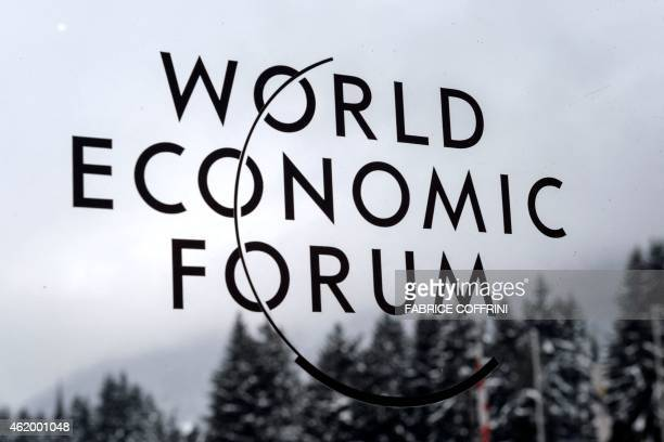 Photo shows the World Economic Forum logo outside the Congress Centre in Davos during the World Economic Forum annual meeting on January 23 2015 AFP...
