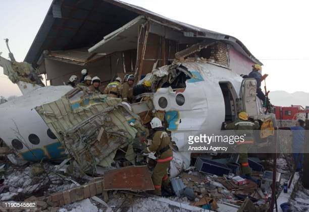 A photo shows the wreckage of a passenger plane after it crashed on December 27 2019 in Almaty Kazakhstan At least nine people were killed and nine...