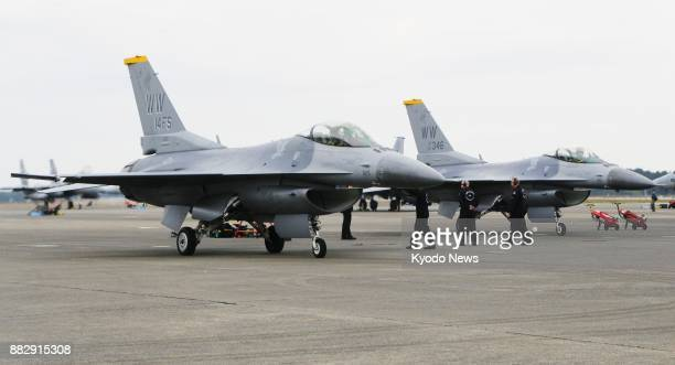 Photo shows two F16 US fighter jets at a Japanese Air SelfDefense Force base in Shintomi Miyazaki Prefecture ahead of JapanUS joint exercises ==Kyodo