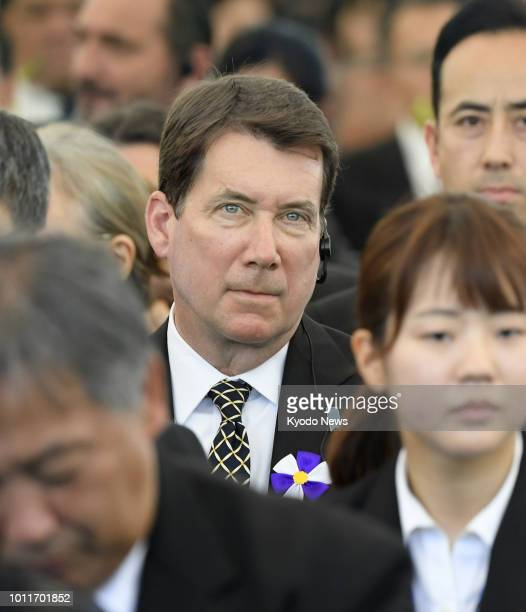 Photo shows US Ambassador to Japan William Hagerty at a ceremony marking the 73rd anniversary of the US atomic bombing of Hiroshima at the Peace...