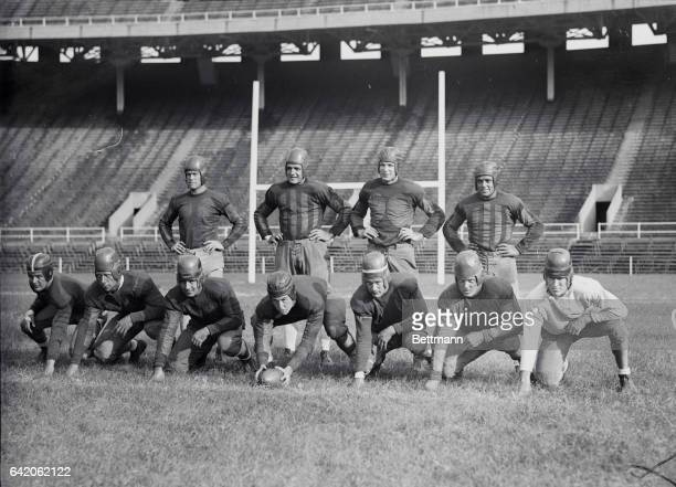 Photo shows varsity team of the University of Pennsylvania left to right backfield ED Lewis Burlington New Jersey Carl Perina Irvington New Jersey...