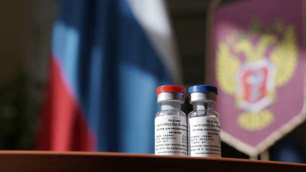 Photo shows vials of vaccine called GamCovidVac in Moscow Russia on August 11 2020 The first coronavirus vaccine in the world has been registered in...
