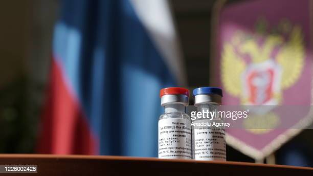 "Photo shows vials of vaccine, called ""GamCovidVac"", in Moscow, Russia on August 11, 2020. The first coronavirus vaccine in the world has been..."