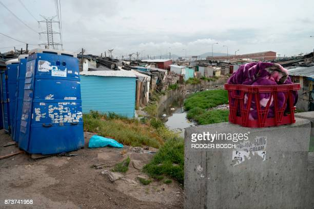 A photo shows wet wash in a basket near portable toilets next to a polluted canal in an informal settlement in Langa a mostly impoverished township...