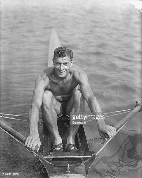 Photo shows William G. Miller, U.S.A., who won the single sculls race in today's program of Xth Olympiad rowing race .