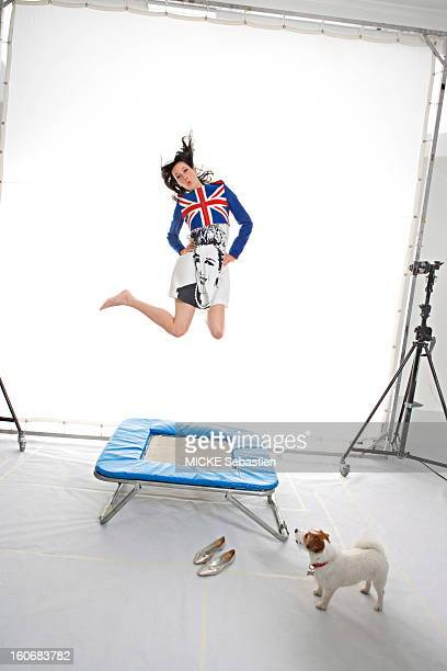 Photo studio Mareva GALANTER jumping on a trampoline July 2007