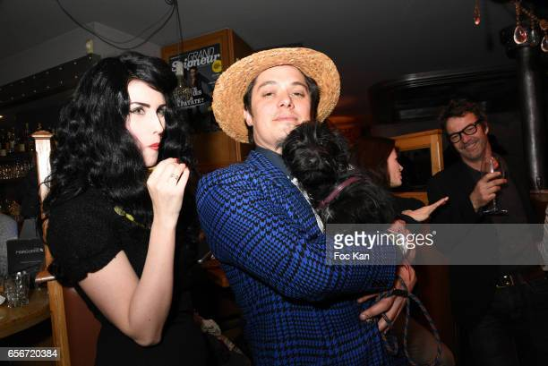 Photo stylist Elsa Oesinger actor Aurelien Wiik and dog Tina attend 'Apero Mecs A Legumes' Party Hosted by Grand Seigneur Magazine at the Bistrot...