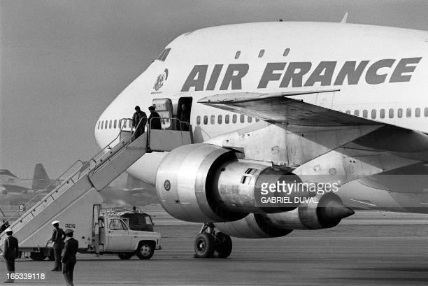 Photo taken 01 February 1979 at Tehran airport of the Air France Boeing 747 jumbo that flew revolutionary leader Ayatollah Ruhollah Khomeini back...