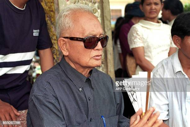 Photo taken 03 July 2003 shows Nuon Chea Brother Number Two attending the funeral ceremony of Khieu Ponnary first wife of Khmer Rouge Supermo Pol Pot...