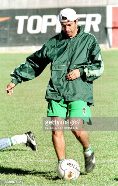 Photo taken 13 July 2000 in La Paz Bolivia of Erwin Platini Sanchez offensive player for the Bolivian Soccer Selection who was suspended by FIFA for...