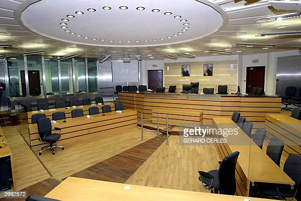 Photo taken 17 February 2004 inside the courtroom in the sleepy town of Arlon near the Luxembourg border where Marc Dutroux will face trial 01 March...