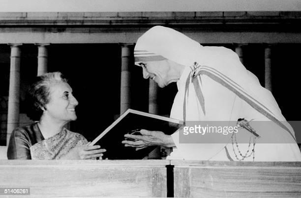 Photo taken 18 November 1972 in New Delhi of Roman Catholic nun Mother Teresa with India's Prime Minister Indira Gandhi 1950 Mother Teresa created in...