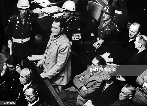 Photo taken 21 November 1945 shows Reichsmarshal Hermann Goering making his statment in the prisoner's dock at the Nuremberg War Crimes Trial in...