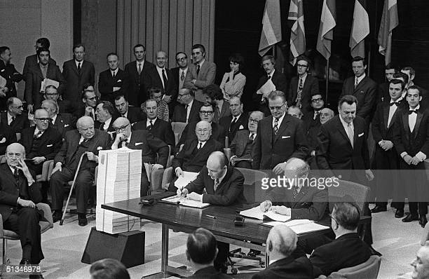 A photo taken 22 January 1972 of the signing by Denmark Ireland Norway and the United Kingdom of the Treaties of accession to the European...