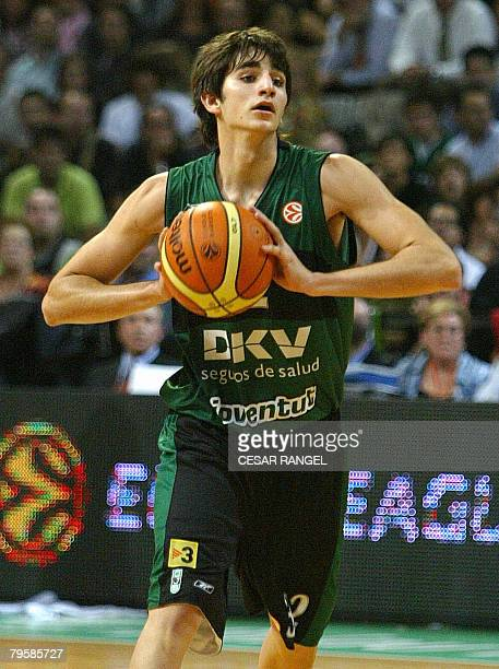 Photo taken 24 October 2006 of DKV Joventut's Ricard Rubio playing against Panathinaiko during a EuroLeague basketball match in Barcelona Rubio was...