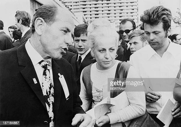 Photo taken 25 August 1972 in Munich of two famous Czech sportsmen seventimes gold medal winner in gymnastics for women Vera Caslavska and fourtimes...