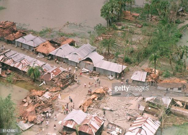 Photo taken 30 April 1991 shows part of the city of Chittagong after it was flooded following the worst cyclone to hit the nation in over 20 years