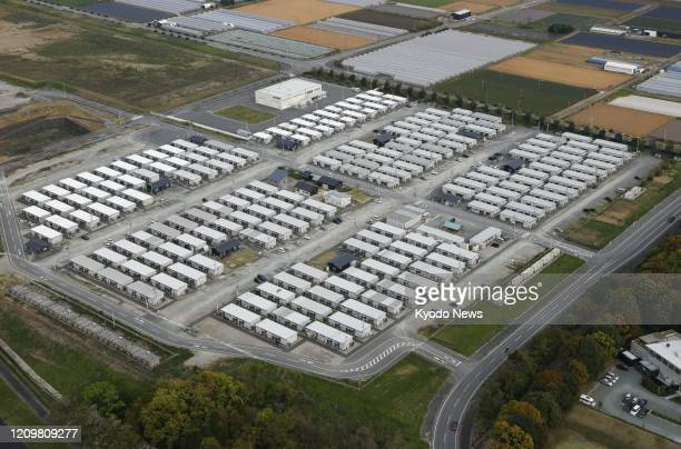 Photo taken April 11 from a Kyodo News helicopter shows a temporary housing complex in the Kumamoto prefecture town of Mashiki in southwestern Japan...