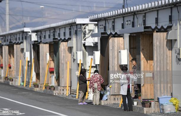 Photo taken April 13 in Mashiki in the southwestern Japan prefecture of Kumamoto shows a temporary housing complex for evacuees from a series of...