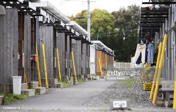 Photo taken April 13 shows a temporary housing complex in the Kumamoto prefecture town of Mashiki in southwestern Japan for people displaced by the...