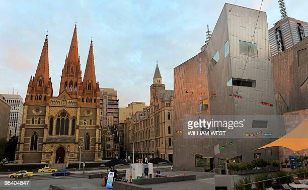 A photo taken April 2 2010 shows a part of Federation Square and St Paul's Cathedral Federation Square s a cultural precinct in the city of Melbourne...