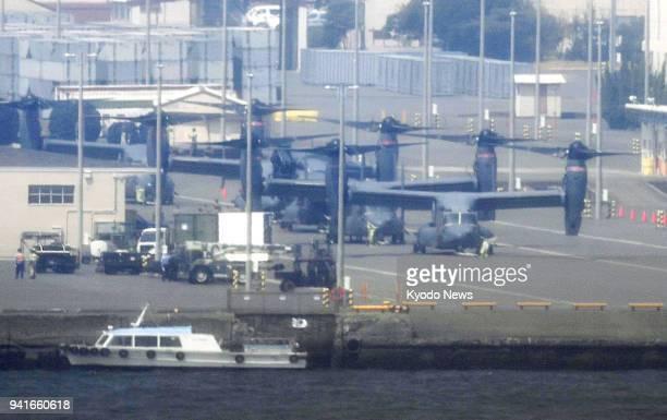 Photo taken April 4 2018 shows US Air Force CV22 Osprey aircraft that arrived at a US military facility in Yokohama ahead of deployment at Yokota Air...