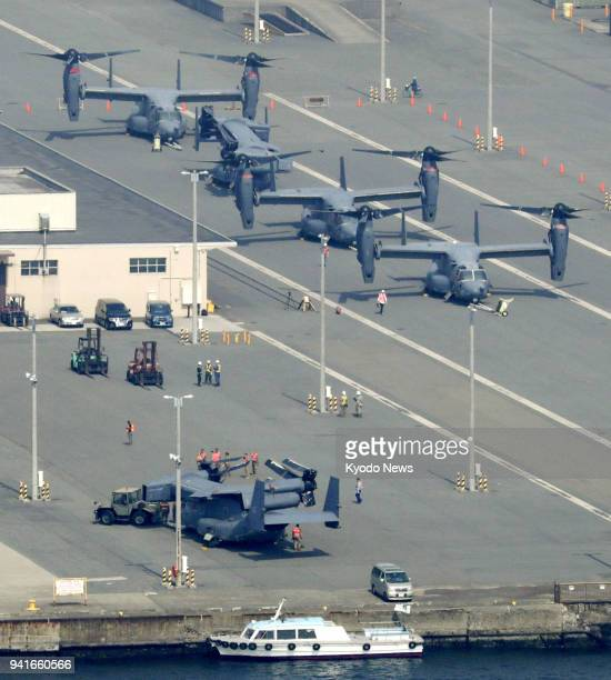 Photo taken April 4 from a Kyodo News helicopter shows US Air Force CV22 Osprey aircraft that arrived at a US military facility in Yokohama ahead of...