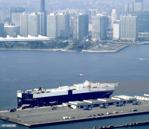 Photo taken April 4 from a Kyodo News helicopter shows US Air Force CV22 Osprey transport aircraft that arrived at a US military facility in Yokohama...