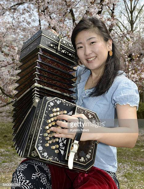 Photo taken April 5 2016 in Fukuoka Fukuoka Prefecture shows Yukie Kawanami winner of the first Che Bandoneon International Competition held in...