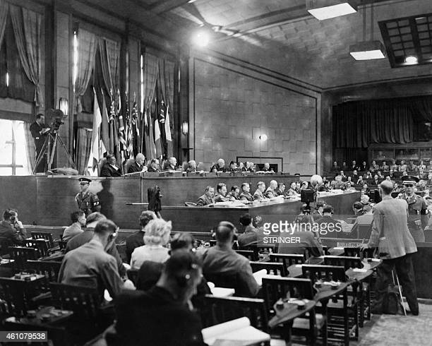 Photo taken around 1946 shows a partial View of the judges bench at the Nuremberg International Military Tribunal court where the nazi leaders of the...