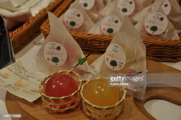 Photo taken at Gunma General Information Center in Tokyo on Jan 26 shows konnyaku jelly on sale at the outlet tasked with promoting madeinGunma...