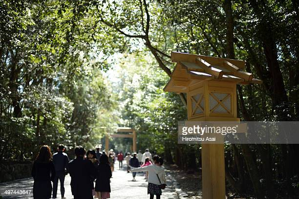 Photo taken at Ise, Mie, Japan. Many people walking to a Shinto shrine.