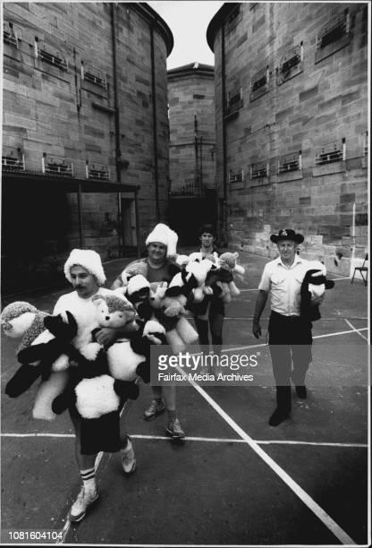 Photo taken at Parramatta JailPrisoners make hundreds of soft toys to give to kids for ChristmasInmates Donald Lambert Robert McCann and Warren...