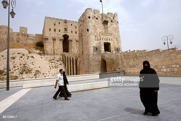 Photo taken at the entrance of the Citadel of Aleppo on August 28 2008 in the centre of the old city of Aleppo northern Syria The Citadel of Aleppo...