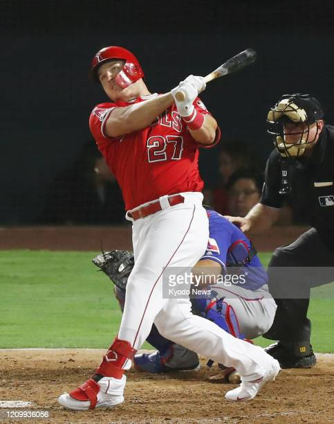 Photo taken Aug 27 shows Mike Trout of the Los Angeles Angels in a game against the Texas Rangers at Angel Stadium in Anaheim California Trout was...