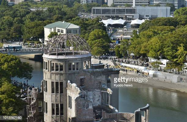 Photo taken Aug 6 shows the Atomic Bomb Dome in Hiroshima A ceremony marking the 73rd anniversary of the US atomic bombing of the western Japan city...