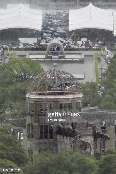 Photo taken Aug 6 shows the Atomic Bomb Dome in Hiroshima with a ceremony marking the 74th anniversary of the US atomic bombing of the western Japan...