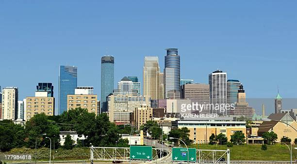 Photo taken August 17 2013 shows the skyline of Minneapolis Minnesota AFP PHOTO / Karen BLEIER