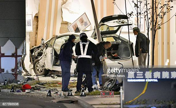 Photo taken Dec 3 shows a taxi which rammed into a hospital in the western Japan city of Fukuoka leaving two people dead and some others injured