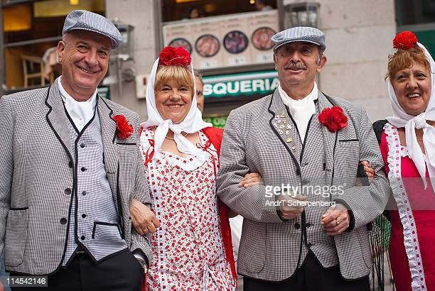 Photo taken during the San Isidro festival in Madrid. It was the evening of the parade. Traditional groups in folkloric costumes were gathering for a...